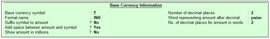 Base Currency Information in Tally.ERP9