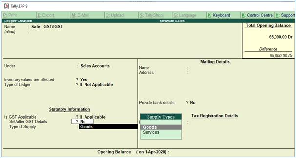 Creating Sales and Purchase Ledgers in TallyERP9