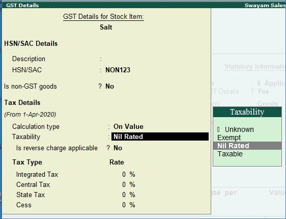 Setting Nil-Rated , Exempted, Zero Rated Stock Items in TallyERP9