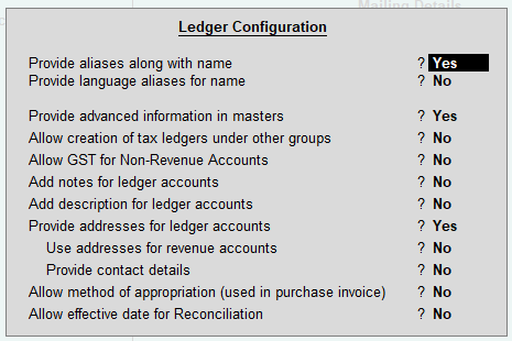 Ledger in TallyERP9