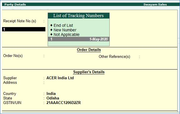 Purchase Order Processing in TallyERP9
