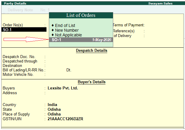 Sales Order Processing in TallyERP9