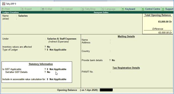 Creating Expenses and Income Ledgers in TallyERP9