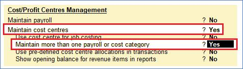 Cost Centre and Cost Category in TallyERP9
