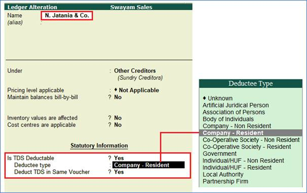 TDS (Tax Deducted At Source) using TallyERP9