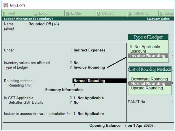 Creating Rounded off Ledgers in TallyERP9