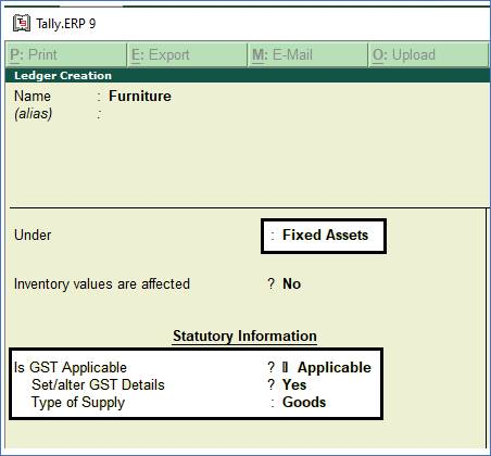 Purchase of Capital Goods with GST in Purchase Voucher in TallyERP9