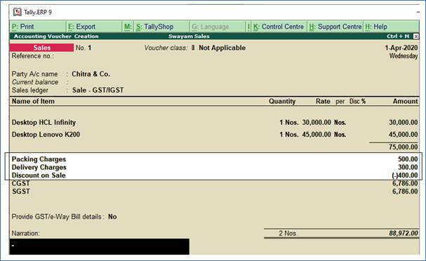 GST Sale of a Composite Supply in Tally.ERP9