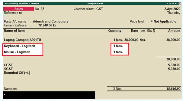 Sale of Nil-Rated, Exempted Supplies using Tally.ERP9