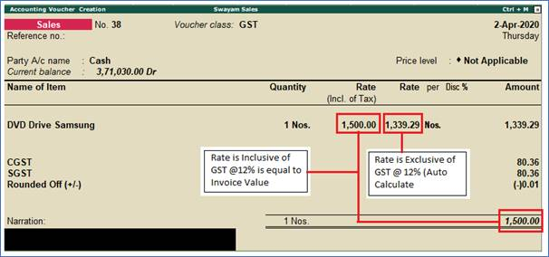Sale of Items and Goods with Inclusive of Tax Rate in Tally.ERP9