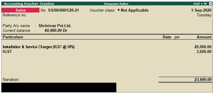 Sale Invoice with Service Charges Outside State (IGST) in Tally.ERP9